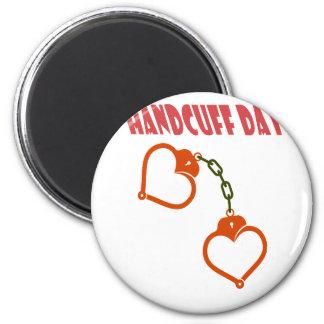 Handcuff Day - Appreciation Day 6 Cm Round Magnet