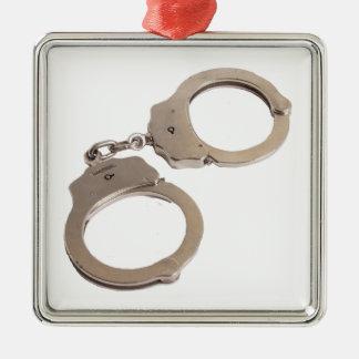 Handcuffs Silver-Colored Square Decoration