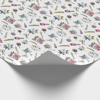 Handdrawn Crafting Pattern Wrapping Paper