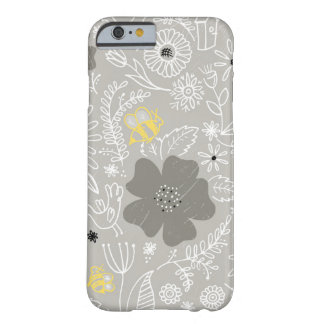 Handdrawn floral with yellow bees iphone cover