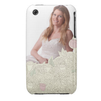 Handdrawn flower border Case-Mate iPhone 3 case