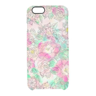 Handdrawn girly pink turquoise floral watercolor