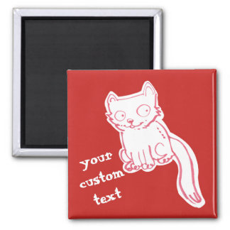 handdrawn sweet kitty cartoon magnet
