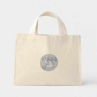 Handheld Cheese Grater Grating Circle Watercolor Mini Tote Bag