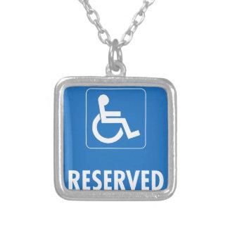 Handicap Parking Sign Square Pendant Necklace