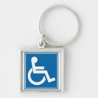 Handicap Sign Silver-Colored Square Key Ring