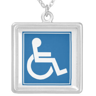 Handicap Sign Square Pendant Necklace