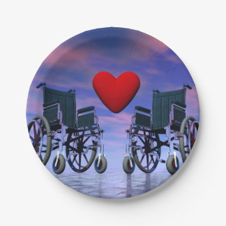 Handicapped persons love - 3D render Paper Plate