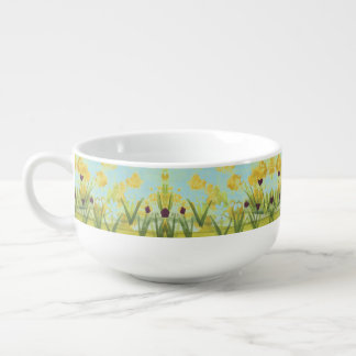 Handle Bowl With Green Yellows and Teal