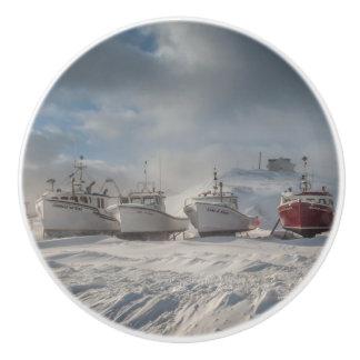handle of door, fishing vessels in snow ceramic knob