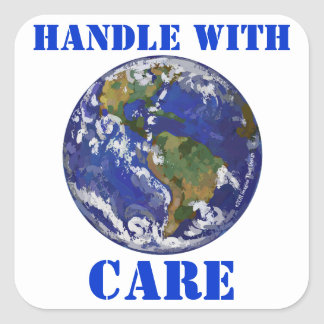 Handle With Care Earth Stickers