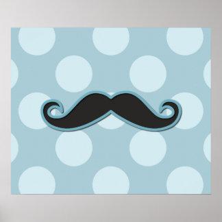 Handlebar Moustache, Polka Dots - Black Blue Poster
