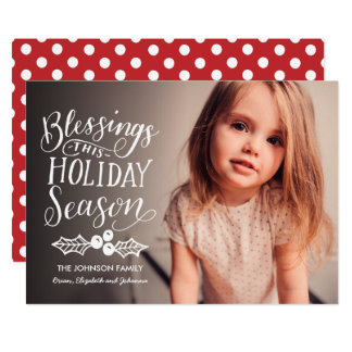 Handlettered Blessings This Holiday Full- Photo Card
