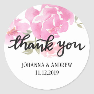 Handlettered Thank You Pink Peonies Flowers Classic Round Sticker
