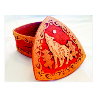 Handmade Birch Wood Jewelry Box with Howling Wolf Postcard