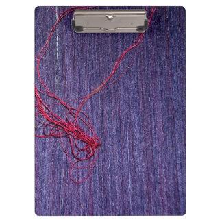Handmade Blue Thai Silk With Red Thread Clipboard
