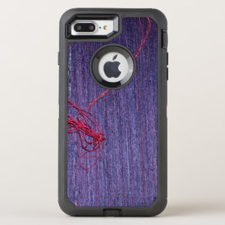 Handmade Blue Thai Silk With Red Thread OtterBox Defender iPhone 8 Plus/7 Plus Case