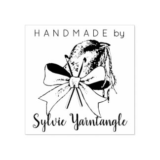 Handmade by bird yarn crochet hook rubber stamp