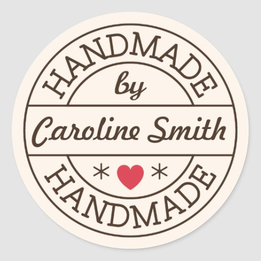 Handmade by stamp red heart personalized name stickers
