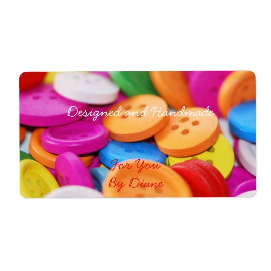 Handmade for You Colourful Buttons Label Shipping Label