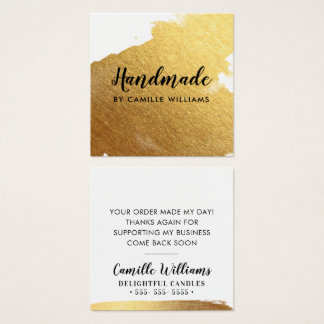 HANDMADE glamourous luxe faux gold foil splash Square Business Card