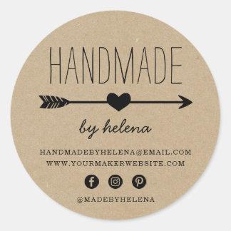 Handmade Heart | Rustic Kraft Look Round Sticker