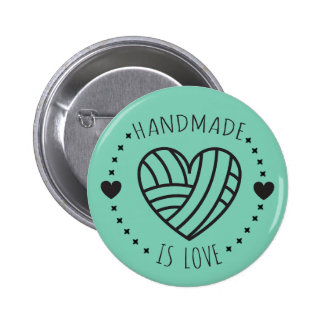 Handmade is Love Yarn Heart 6 Cm Round Badge