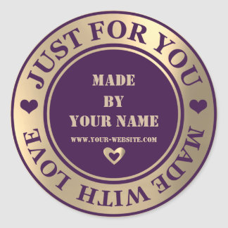 Handmade Just For You Made Love Foxier Gold Purple Classic Round Sticker