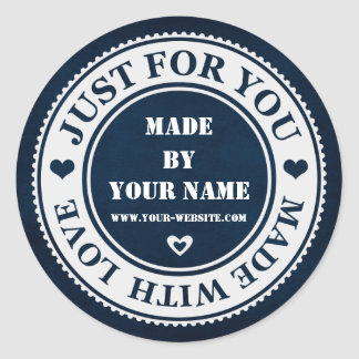 Handmade Just For You Made With Love Blue White Round Sticker