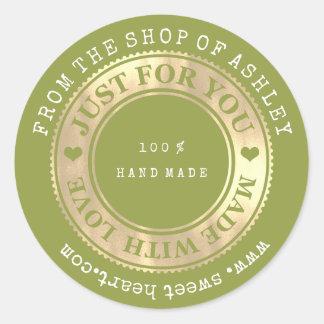 Handmade Logo Name Web Heart Love Greenery Gold Classic Round Sticker