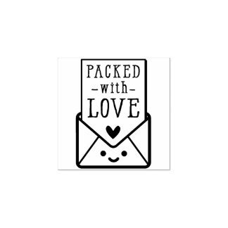 HANDMADE PACKAGING cute packed with love Rubber Stamp