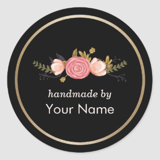 Handmade Product Vintage Floral Deco Business Round Sticker