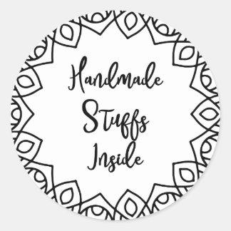 Handmade stuffs inside typography gift tag sticker