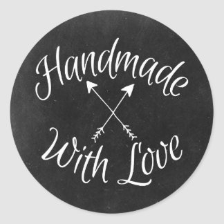 Handmade With Love Crossed Arrows On Chalkboard Classic Round Sticker