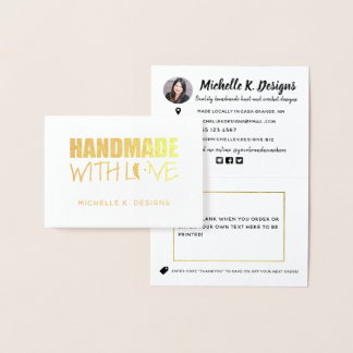 Handmade with Love Handmade Shop Info Note Foil Card