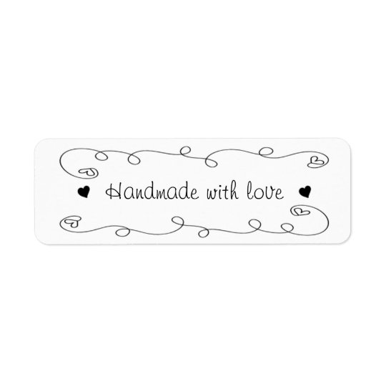Handmade With Love Hearts Label Gift Tag Return Address Label