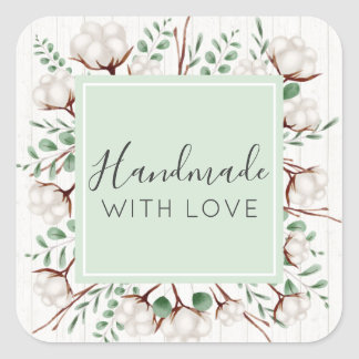 Handmade With Love Rustic Southern Cotton Flowers Square Sticker