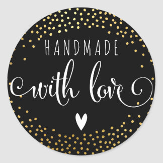 HANDMADE WITH LOVE SEAL cute gold confetti spot Round Sticker
