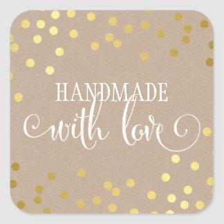 HANDMADE WITH LOVE SEAL modern gold confetti kraft