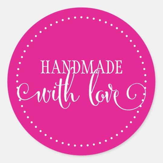 Handmade With Love Seal Modern Stylish Script Pink