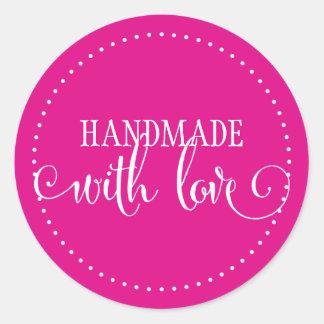 HANDMADE WITH LOVE SEAL modern stylish script pink Round Sticker