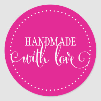 HANDMADE WITH LOVE SEAL modern stylish script pink Classic Round Sticker
