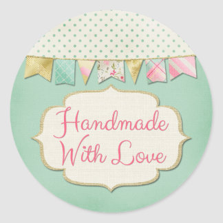 Handmade With Love Shabby Chic Boutique Bunting Classic Round Sticker