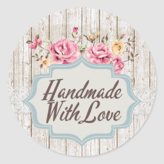 Handmade With Love Shabby Chic Floral Rustic Wood Classic Round Sticker