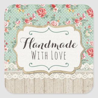 Handmade With Love Shabby Chic Roses Lace & Burlap Square Sticker