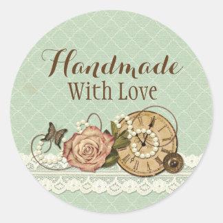 Handmade With Love Shabby Chic Rustic Jewelry Classic Round Sticker
