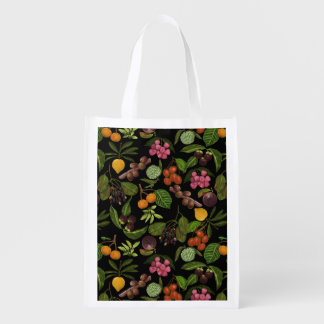 Handpainted Colorful Exotic Tropical Fruit Pattern
