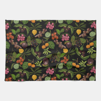 Handpainted Colorful Exotic Tropical Fruit Pattern Kitchen Towel