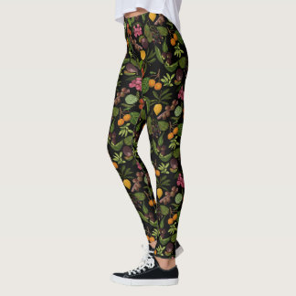 Handpainted Colorful Exotic Tropical Fruit Pattern Leggings