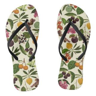 Handpainted Colorful Rustic Tropical Fruit Pattern Thongs